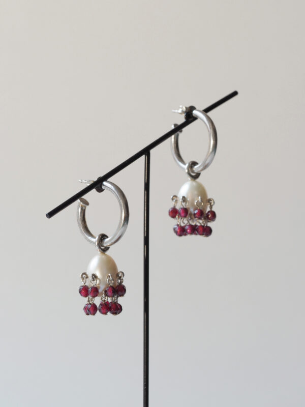 Silver, pearl and garnet earrings