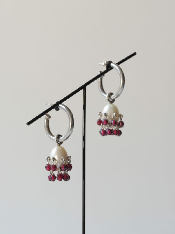 Silver, pearl and garnet earrings
