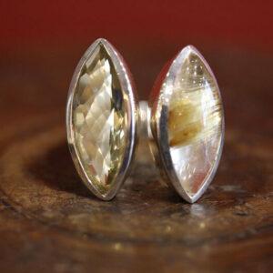 Bague argent, quartz citron et quartz rutile.