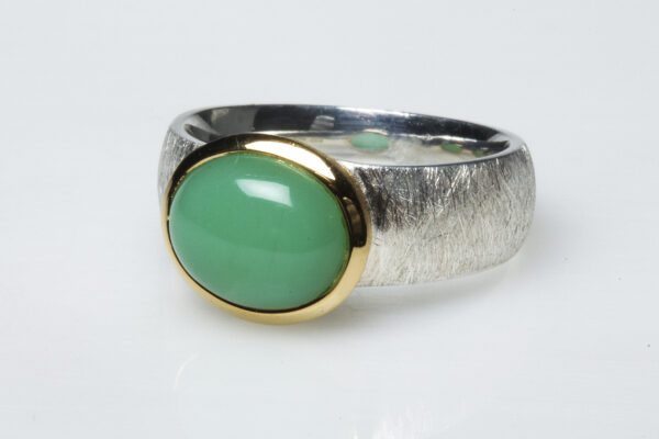 Chrysoprase, silver and vermeil ring