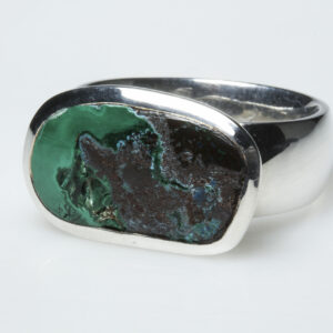 Chrysocolla and sterling silver ring.