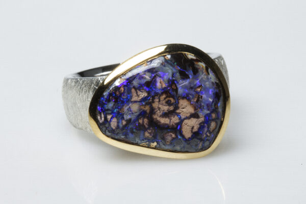 Boulder opal, silver and vermeil ring.