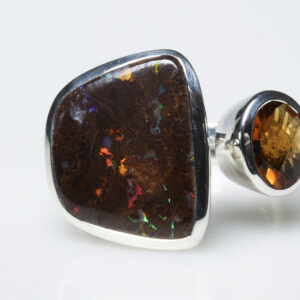 Boulder opal, citrin and silver ring