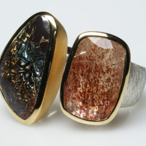 Boulder opal, sunstone, brushed silver and mat vermeil ring.