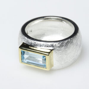 Topaz, sterling silver and vermeil ring.