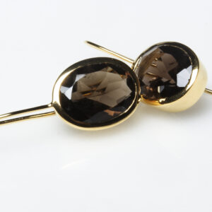 Picture of golden earrings with oval brown stones.