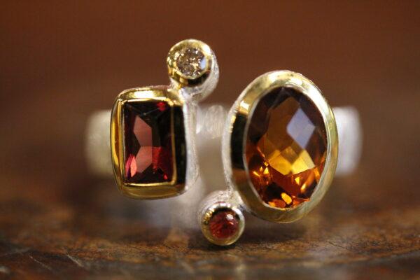 Silver, vermeil, citrin, rhodolite,sapphire and diamond ring.