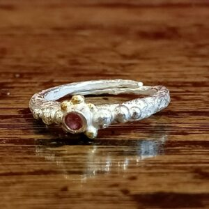 Silver, gold and tourmaline ring by Jessie Bensimon., gold and tourmaline ring by Jessie Bensimon