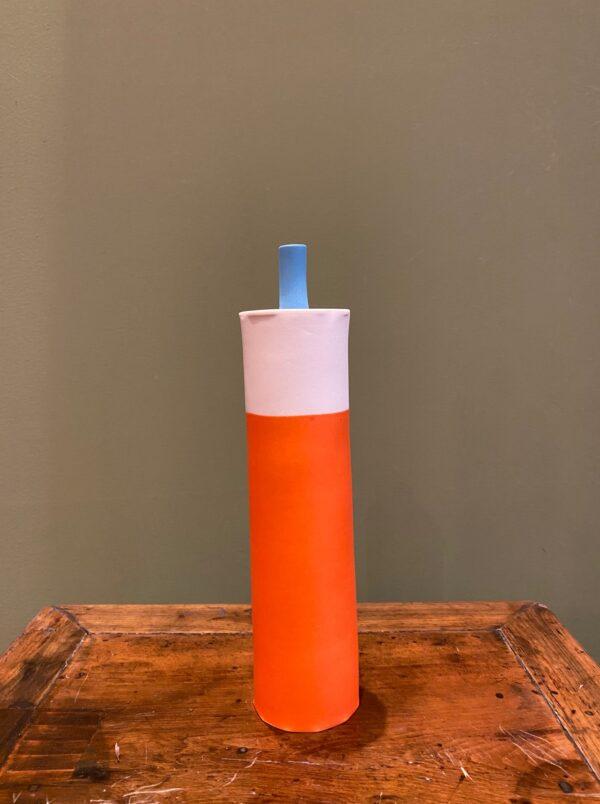 Enamelled orange, white and blue porcelain can.