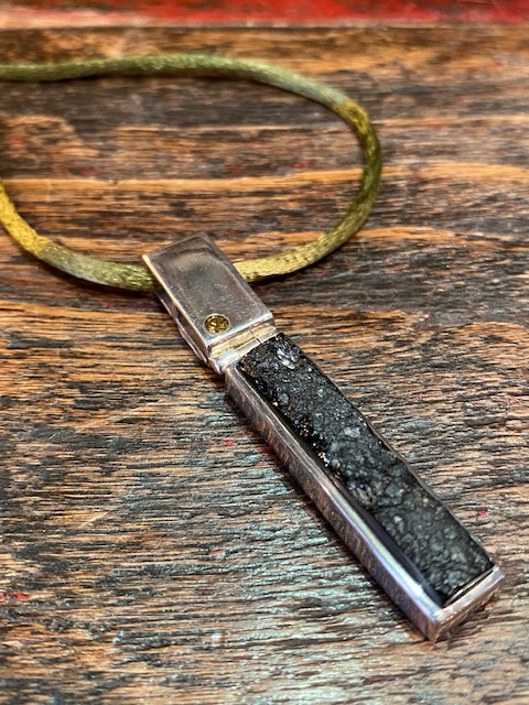 Black tectite, citrin and silver pendant.