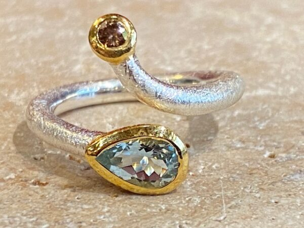 Brushed silver, vermeil, aquamarine and diamond ring.