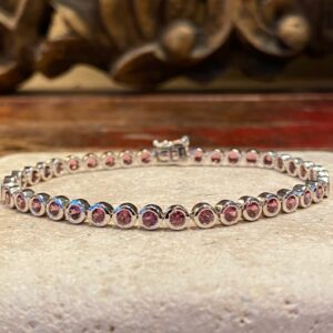 Silver and rhodolite bracelet.