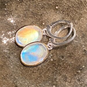 Silver and white labradorite earrings.