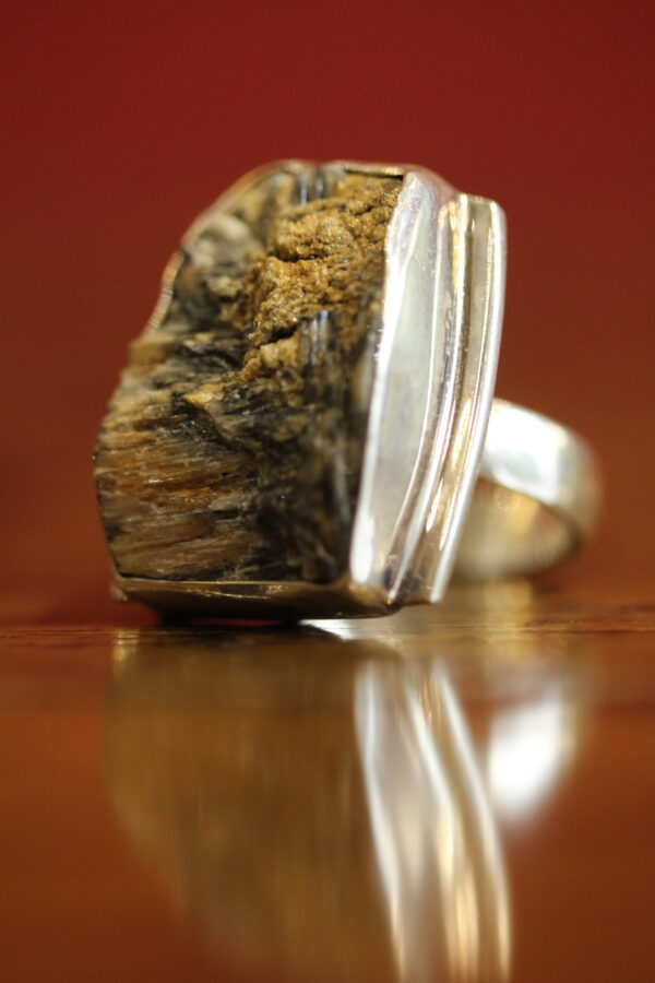Rough chiastolite and sterling silver ring