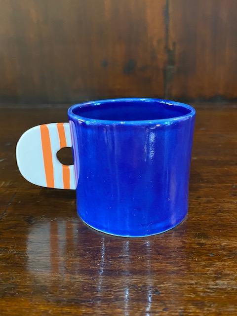 Blue enamelled porcelain espresso cup