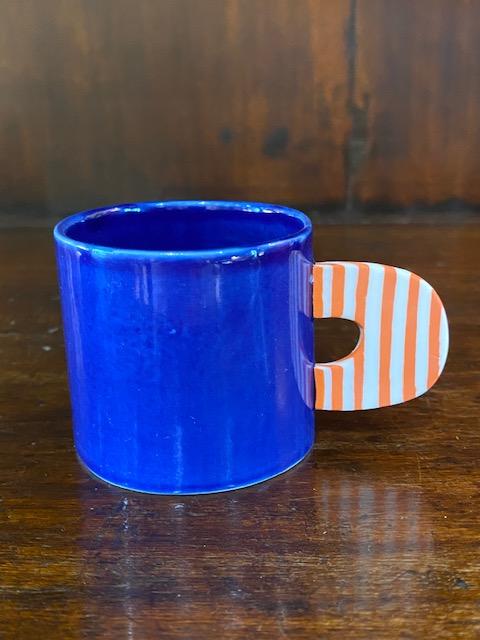 Blue enamelled porcelain espresso cup.